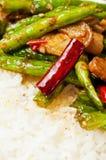 Kinesiska mat-Rad bönor och meat Arkivbilder