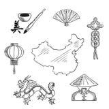 Kinesiska nationella symboler runt om en översikt stock illustrationer