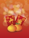 2014 kinesiska nya år av hästapelsinerna och rött Arkivbild