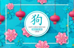 2018 kinesiska nya år År av hunden Lyckligt nytt år - kinesisk översättning blå red Pappers- konstblommor, prydnad Arkivfoton