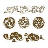 Kinesiska oklarheter Asiatisk virvelmolnuppsättning stock illustrationer