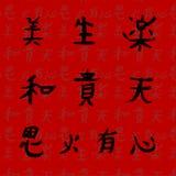 10 kinesiska ord i hieroglyf vykort Royaltyfri Fotografi