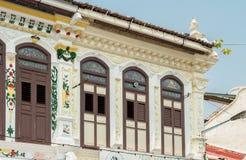 Kinesiska peranakan hus i den Jonker gatan arkivfoton