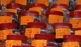 Kinesiska produkter på skärm i lager Arkivbild