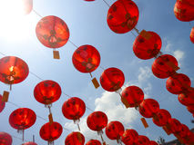 Kinesiska röda lyktor Georgetown Penang Malaysia Royaltyfria Foton