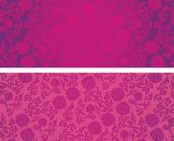 Kinesiska rosa färg- och lilalotusblommahorisontalbaner royaltyfri illustrationer