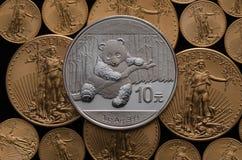 Kinesiska silverpandasegrar av USA-guld Eagle Coins Royaltyfri Foto