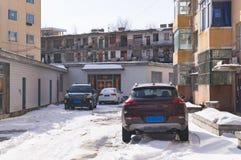 Kinesiska slumkvarter i det fattiga området av den kinesiska staden Royaltyfria Bilder