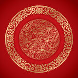 Kinesiska tappningbeståndsdelar på klassisk röd bakgrund Arkivbilder