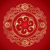 Kinesiska tappningbeståndsdelar på klassisk röd bakgrund Arkivfoto