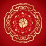 Kinesiska tappningbeståndsdelar på klassisk röd bakgrund Royaltyfri Foto