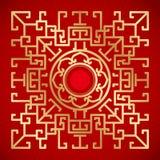 Kinesiska tappningdrake- och lotusblommabeståndsdelar på klassisk röd backgro Fotografering för Bildbyråer