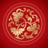Kinesiska tappninglotusblommabeståndsdelar på klassisk röd bakgrund Arkivfoton