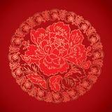 Kinesiska tappningpionbeståndsdelar på klassisk röd bakgrund Royaltyfri Bild