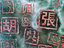 Kinesiska tecken, efternamn royaltyfria foton