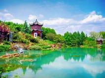 Kinesiska trädgårdar på den Montreal botaniska trädgården arkivfoton