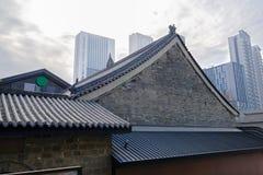 Kinesiska traditionella byggnader i modern stad i den molniga vintern mo Arkivfoton