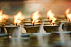 Kinesiska traditionella olje- lampor Arkivbilder