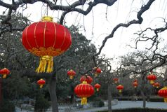 Kinesiska traditionella röda lampions Arkivbilder