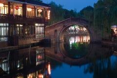 Kinesiska Venedig Zhouzhuang Fotografering för Bildbyråer