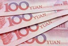 Kinesiska yuananmärkningar eller räkningar Fotografering för Bildbyråer