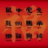 Kinesiska zodiacsymboler stock illustrationer