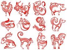Kinesiska zodiakdjur i papperssnittstil vektor illustrationer