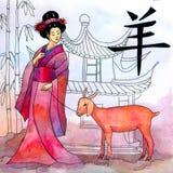 Kinesiskt årshoroskop med geishaen royaltyfri foto