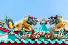 kinesiskt dubbelt draketaktempel arkivfoto