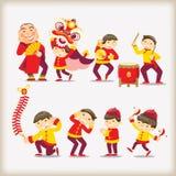 Kinesiskt folk för tecknad film Royaltyfri Bild
