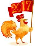 Kinesiskt för tuppflagga för nytt år tecken 2017 för tecknad film för symbol Colo Arkivbild