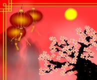 Kinesiskt hälsningkort för nytt år av den röda pappers- lyktan med plommonet bl Royaltyfri Bild