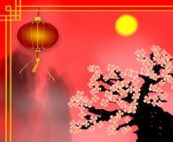Kinesiskt hälsningkort för nytt år av den röda pappers- lyktan med plommonet bl Royaltyfri Foto