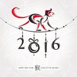 Kinesiskt hälsningkort för nytt år med apan Arkivbild