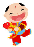 Kinesiskt hälsningkort för nytt år - pojke Royaltyfria Bilder