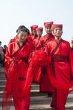 Kinesiskt Han-stil massbröllop Arkivfoton
