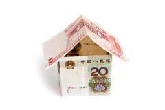 kinesiskt hus isolerade pengar Arkivbilder