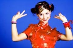 kinesiskt klänningkvinnabarn royaltyfri bild