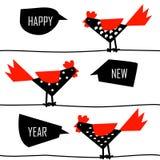 Kinesiskt kort för nytt år med tuppar på trådar stock illustrationer