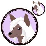 Kinesiskt kr?nat hundhuvud i cirkel stock illustrationer