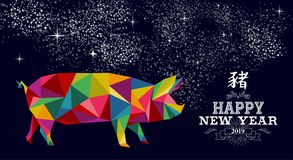 Kinesiskt lågt poly färgrikt svinkort för nytt år 2019 royaltyfri illustrationer