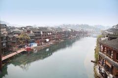Kinesiskt landskap för forntida stad Royaltyfria Bilder