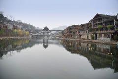 Kinesiskt landskap för forntida stad Arkivbild