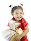 kinesiskt lyckligt nytt år Gullig asiatisk flicka i traditionskines Arkivfoton