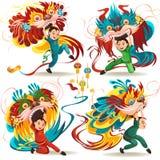 Kinesiskt mån- nytt år Lion Dance Fight som isoleras på vit bakgrund, lycklig dansare i traditionellt dräktinnehav för porslin vektor illustrationer