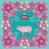 Kinesiskt nytt år 2019 År av det gula svinet Spädgris, kinesisk lykta, kinesiska moln-, plommon- och persikablommor Ram royaltyfri illustrationer