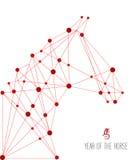 Kinesiskt nytt år av illustrationen för hästrengöringsdukform. Royaltyfri Bild