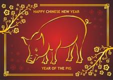 Kinesiskt nytt år 2019 - år av svinet vektor illustrationer