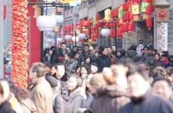 Kinesiskt nytt år Beijing Qianmen commercialgata Arkivfoton