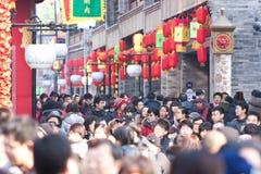 Kinesiskt nytt år Beijing Qianmen kommersiell st Fotografering för Bildbyråer